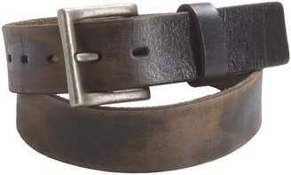 Leather Island Distressed Leather Belt - Silver Buckle (For Men)