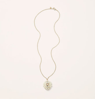 LOFT Long White Cast Pendant Necklace