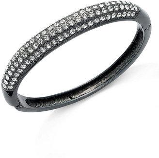 Charter Club Hematite-Tone Glass Hinged Bangle Bracelet