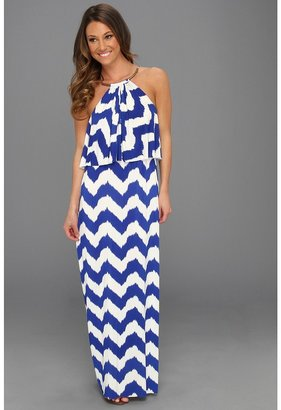 T-Bags Tbags Los Angeles - High Neck Cami Long Dress with Ruffle Flap (VA6 Print) - Apparel