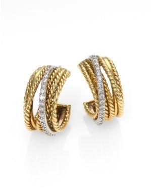 David Yurman Crossover Small Hoop Earrings with Diamonds in Gold