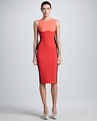 Stella McCartney Contoured Colorblock Sheath Dress, Coral