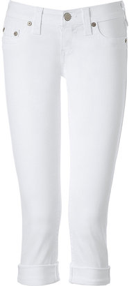 True Religion Optic White Rinse Lizzy Rolled Cuff Capris