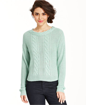 Keds Juniors Scoop-Neck Cable-Knit Sweater