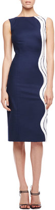 Carolina Herrera Waves Devore Sleeveless Dress, Navy/White