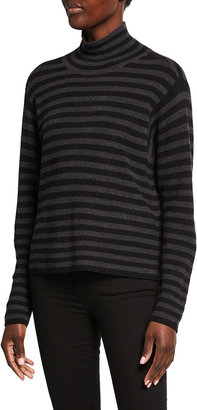 Eileen Fisher Plus Size Striped Merino Wool Turtleneck Sweater