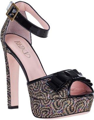RED Valentino Metallic Swirl Platform Sandal Black Glitter