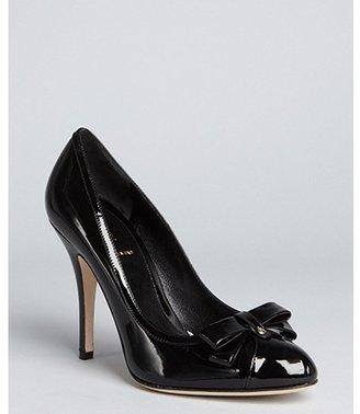 Fendi black patent leather bow detail pumps