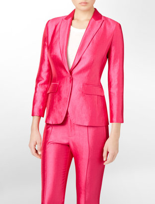 Calvin Klein Shiny Seam Detailed Suit Jacket