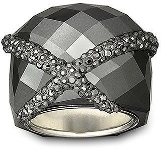 Swarovski Forever Jet Hematite Ring