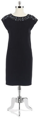Anne Klein Embellished Neckline Shift Dress