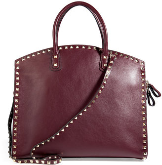 Valentino Leather Rockstud Tote with Shoulder Strap in Rubin