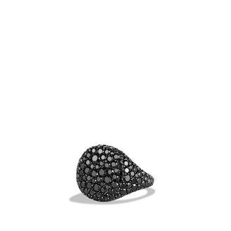 David Yurman Pavé; Pinky Ring with Black Diamonds in White Gold