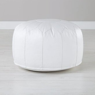 Faux Leather White Pouf $79 thestylecure.com