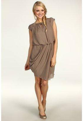 Jessica Simpson Short Draped Sleeve Asymmetrical Hem Dress (Taupe Grey) - Apparel