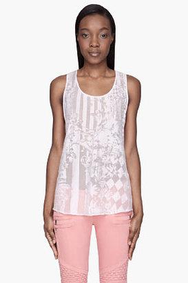 Balmain Pink semi-sheer patterned Tank Top