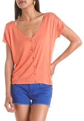 Charlotte Russe Button-Front V-Neck Tee