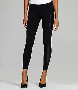 Sugar Lips Ponte Leggings With Faux Leather Accents
