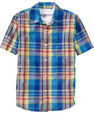 Old Navy Boys Short-Sleeve Plaid Shirts