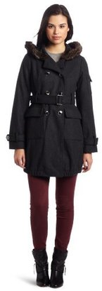 Steve Madden Women's Utilitarian Double Breasted Belted Coat