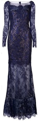 Marchesa knit lace gown