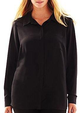 JCPenney Worthington® Long-Sleeve Pocket Blouse - Plus