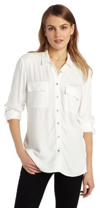 Calvin Klein Jeans Women's Solid Button Front Shirt
