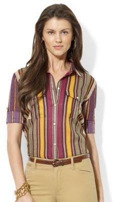 Lauren Ralph Lauren Roll-Sleeve Striped Workshirt