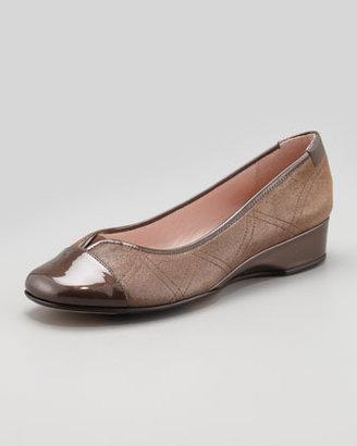 Taryn Rose Kenna Cap-Toe Ballerina Flat, Choco