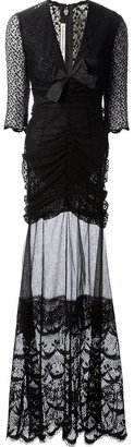 Alessandra Rich sheer long lace dress