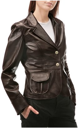 Forzieri Brown Dual Front Pocket Leather Blazer