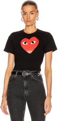 Comme des Garcons Cotton Tee with Red Emblem in Black | FWRD