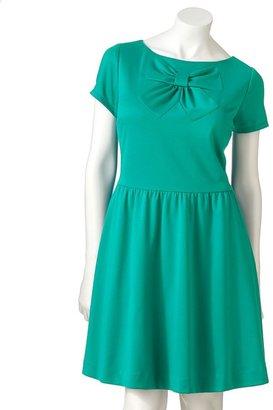 Lauren Conrad bow fit & flare ponte dress - women's