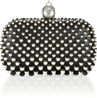 Alexander McQueen The Skull faux pearl-embellished leather box clutch