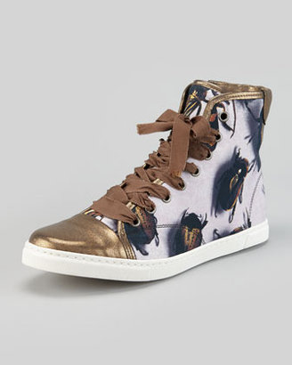Lanvin Beetle-Print High-Top Sneaker