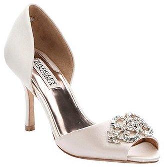 Badgley Mischka vanilla textile 'Salsa' crystal charm peep toe pumps