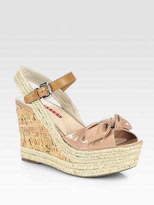 Prada Patent Leather Bow Cork Wedge Sandals