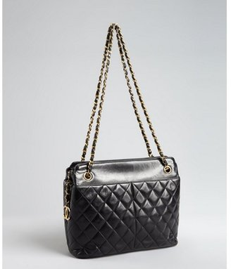 Chanel black quilted lambskin pocket chain vintage tote