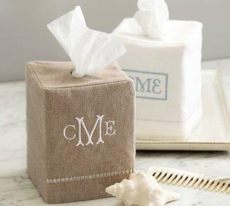 Pottery Barn Linen Hemstitch Tissue Box Cover