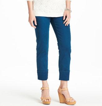 LOFT Maternity Modern Straight Cuffed Cropped Jeans in Cayman Blue