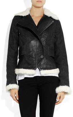 Faith Connexion Bearn shearling-trimmed leather and wool-blend jacket