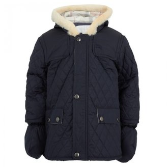 Burberry Navy Quilt Hooded Jacket