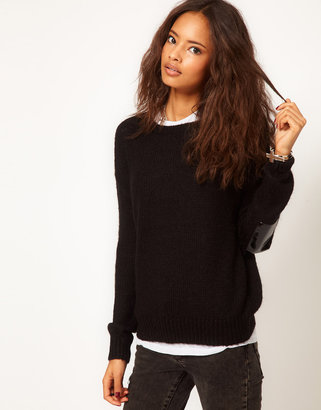 Asos Patent Elbow Patch Sweater In Mohair