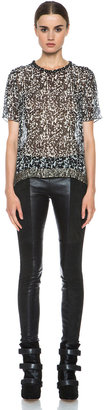 Isabel Marant Idris Lambskin Pant in Faded Black