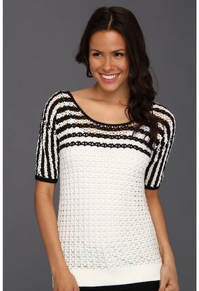 Christin Michaels Taryn Crochet Pullover (Soft White Multi) - Apparel
