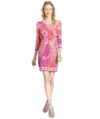 Ali Ro coral and red printed jersey three quarter sleeve dress