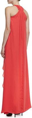 Halston Halter-Neck Pintuck High-Low Gown