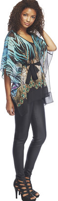 Arden B Tropical Animal Print Sheer Caftan