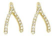Jennifer Meyer Yellow Gold Diamond Wishbone Studs