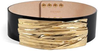 Balmain Leather Belt in Gold/Black
